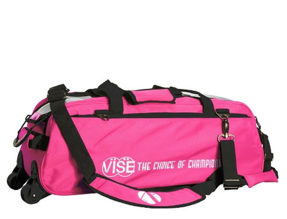 Vise 3 Ball Tote Bowling Bag with tow wheels color Pink