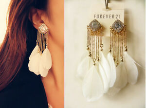 Image Is Loading Forever21 Stunning Sparkling Rhinestone White Feathers Earrings Ear