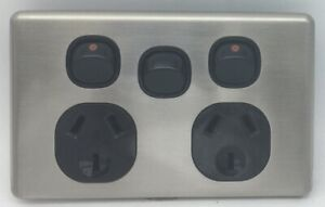 Slim-Double-Power-Point-Stainless-Steel-Cover-Slimline-GPO-Switch-Outlet-Socket
