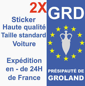 2-Stickers-autocollant-Groland-adhesif-plaque-d-039-immatriculation-departement-GRD