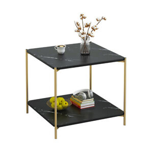 2 Tier Coffee Side Table End Table Chrome Legs Sofa Living Room Black Square New
