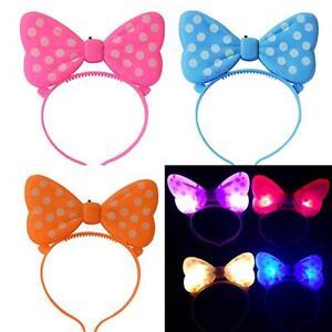 Festival LED Blinking Lighting Up Bow Minnie Headband Flashing Light Hair Band