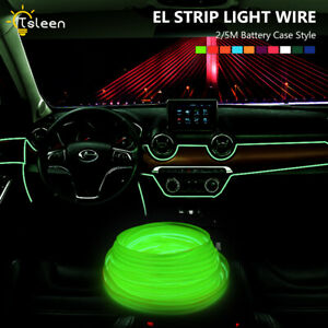 Flexible DIY Flat EL Wire Neon LED Light 2m 5m With 3 Modes Battery Controller