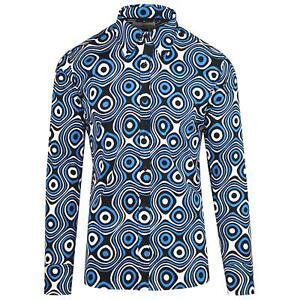 Nuevo-Madcap-Retro-Mod-para-hombre-60s-70s-sesenta-Camisa-viaje-Op-Art-Azul-Negro-MC201