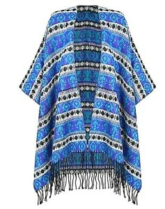 WOMENS-TASSEL-FRINGE-PONCHO-CAPE-BLANKET-OPEN-FRONT-KNITTED-SHAWL-WRAP-CARDIGAN