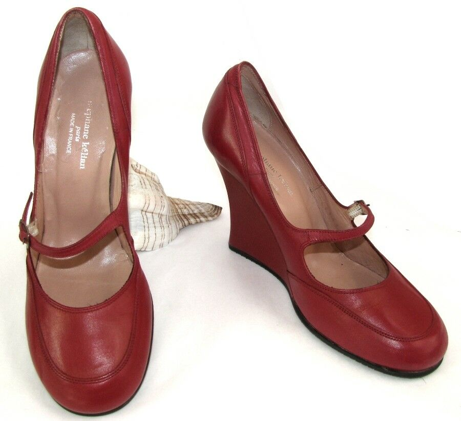 STEPHANE KELIAN zapatos zapatos zapatos compensées  cuir rojo 4.5 37.5 EXCELLENT ETAT c4b2be