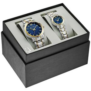 Bulova-Quartz-Gold-Tone-Case-Two-Tone-Matching-His-and-Hers-Watch-Set-98X117