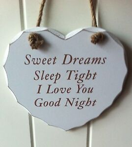 Heart Plaque Sign Sweet Dreams Sleep Tight I Love You Goodnight