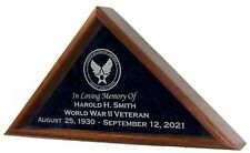 Military Veteran Funeral Burial Flag Display Case - INCLUDES GLASS ENGRAVING!