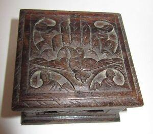 CARVED WOODEN BOX PETITE BOITE SCULPTE D'UN OISEAU en Bois SEgPJliF-07223803-223656753