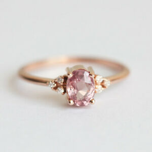 cb3274ae262215 Details about Vintage 18K Rose Gold Filled Pink Sapphire Ring Wedding  Engagement Women Jewelry