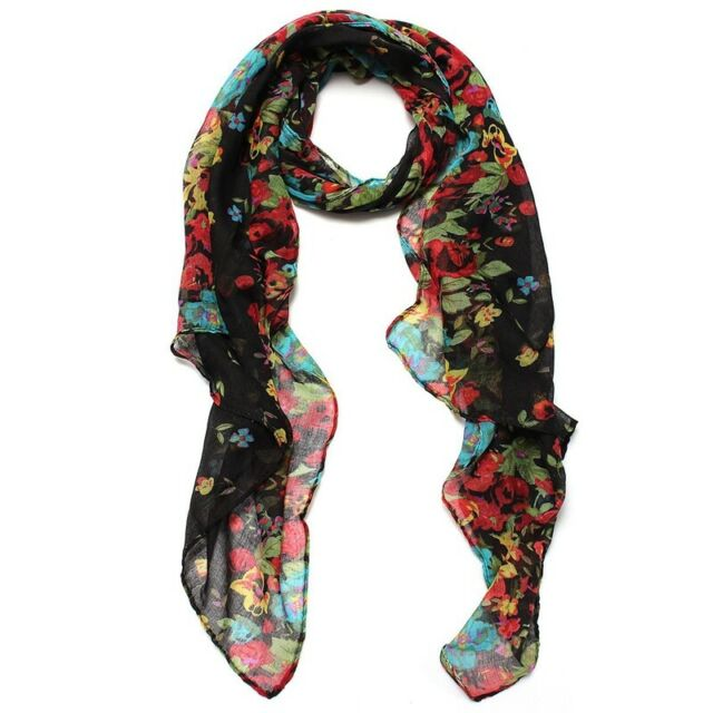 Black Scarf Shawl Scarf Stole Flower Long Cotton Scarf Women Floral Gifts H6R5