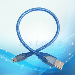 New-Blue-Short-USB-2-0-A-Male-to-Mini-5-Pin-B-Data-Charging-Cable-Cord-Adapter