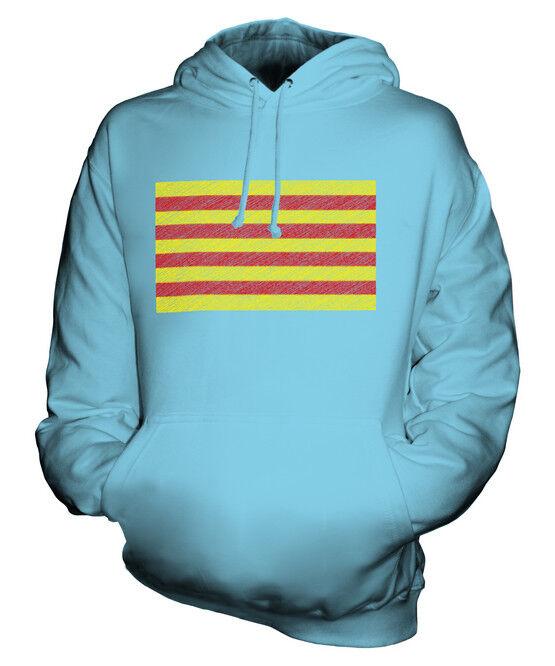 CATALONIA SCRIBBLE FLAG UNISEX HOODIE TOP GIFT CATALUNYA CATALONIAN  | Roman