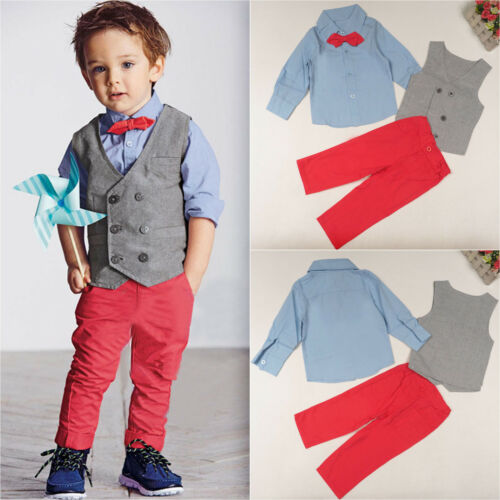 Boy Kid Gentle Casual Jumpsuit Blazer Top Denim Jeans Shirts /& Pants Outfit Sets