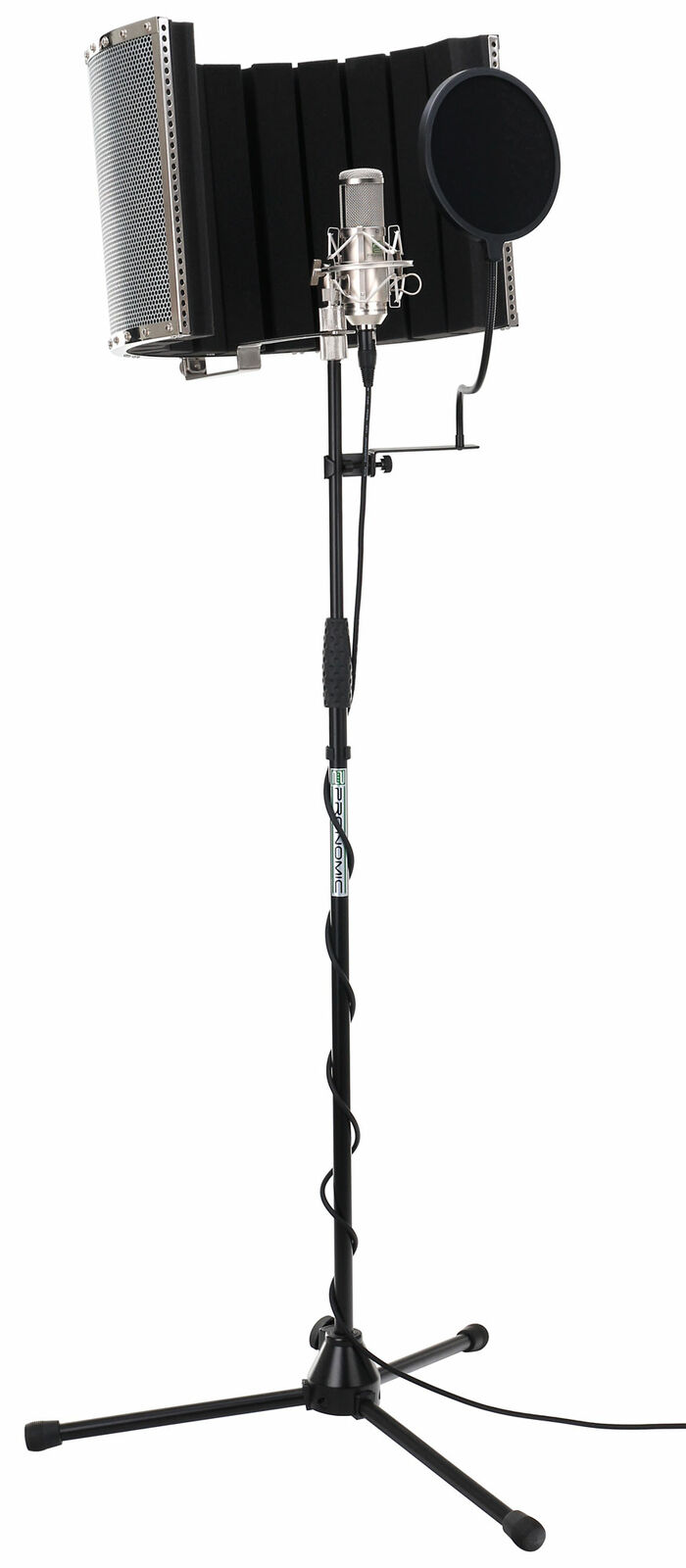 CONDENSER STUDIO MICROPHONE SUPPORT STAND XLR CABLE ANTIPOP SCREEN ABSORBER SET