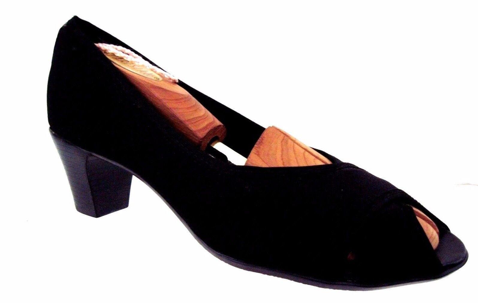 MUNRO AMERICAN Black Black Black Fabric Black Patent Trim Peep Toe Pumps Heels Size 7 N c7d83d