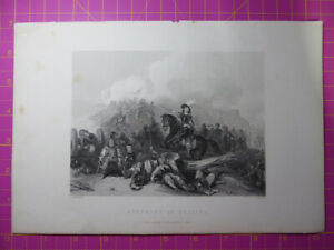 Antique-1880-Victorian-Engraving-STORMING-OF-BRISTOL-English-Civil-War-Etching