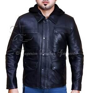 T5 Terminator Genisys Arnold Schwarzenegger Black Cow Hide Leather Jacket