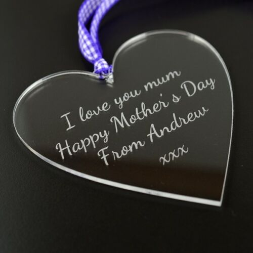 Clear Acrylic Glass Heart Shaped Hanging Plaque Gift Idea For Mum On Mothers Day