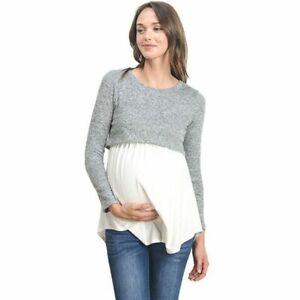 Women Maternity Nursing Long Sleeve Tops Striped Shirt Breastfeeding Blouse Tee