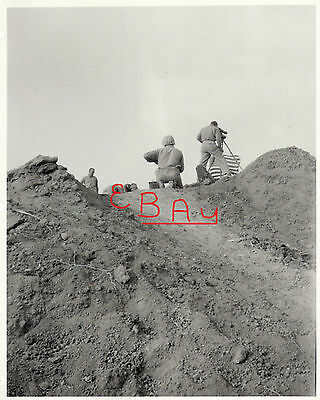 WWII HUGE 11X14 PHOTOGRAPH  US 5TH MARINES ATOP MT SURIBACHI IWO JIMA FLAG VIEW