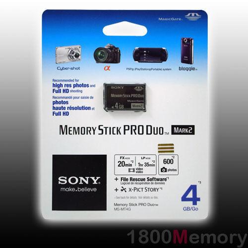 Genuine Sony 4GB Memory Stick Pro Duo Mark2 Card UK Seller - NEW