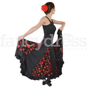 Polka Da Sala.Dettagli Su Danza Spagnola Pratica Abito Completo Pannello A Pois Nero Rosso Flamenco Sala Da Ballo Mostra Il Titolo Originale