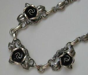 Collier-Kette-925-Silber-mit-Rosen-Tracht-silver-necklace-Rosencollier-41-6-cm
