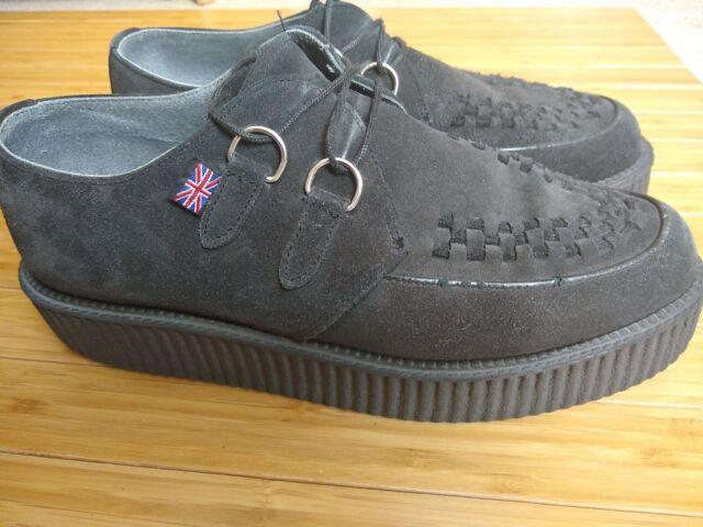 TUK Black Suede Lace Up Creeper D Ring Shoes Sz 12 Men's Platform