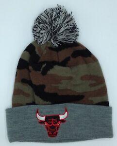 be737b6d434 NBA Chicago Bulls Mitchell   Ness M N Cuffed Camo Pom Knit Hat Cap ...