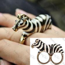 QUIRKY 3D ZEBRA two-finger ring BLACK&WHITE ENAMEL zoo animal VINTAGE GOLD TONE