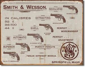 New Smith /& Wesson Gun Ammo Protected By Vintage Retro Metal Tin Sign Gift USA