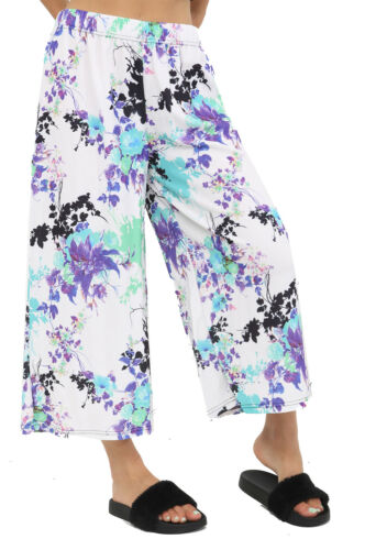 Chaussures Femme 3//4 Longueur Jambe Rayures//Floral Jupe-Culotte//Shorts W taille élastique 10-28