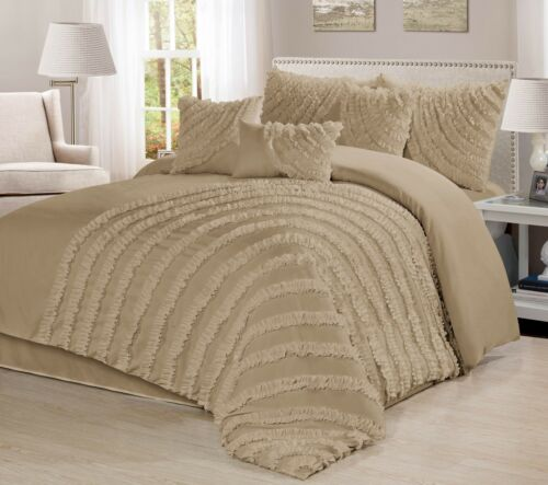 Queen King Cal.King Size 7 Piece Hillary Bed in a Bag Ruffled Comforter Sets