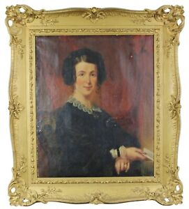 Antique-19th-Century-Oil-Painting-Portrait-of-a-Woman-Lady-Baroque-Frame-41-034