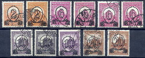 HUNGARY 1931 Surcharges used