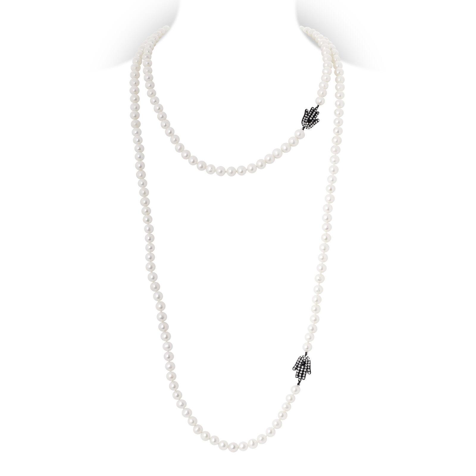 LUXUS Süsswasser Perlenkette HAMSA Anhänger black Zirkonias 130cm (LPK6)