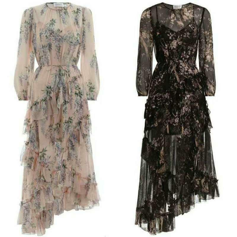 Lady Floral 100% Silk Wisteria Vocation Print Falbala Maxi Dress Boho Beach T405
