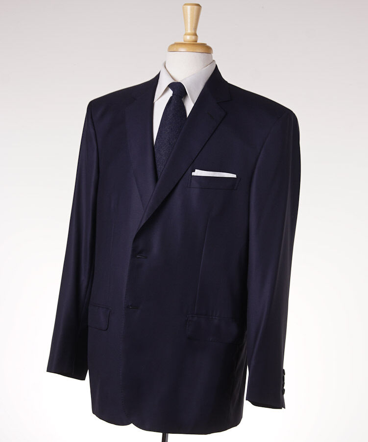 NWT 6500 BRIONI 'Colosseo' Solid Navy Blau Super 160s Wool Suit US 48 R