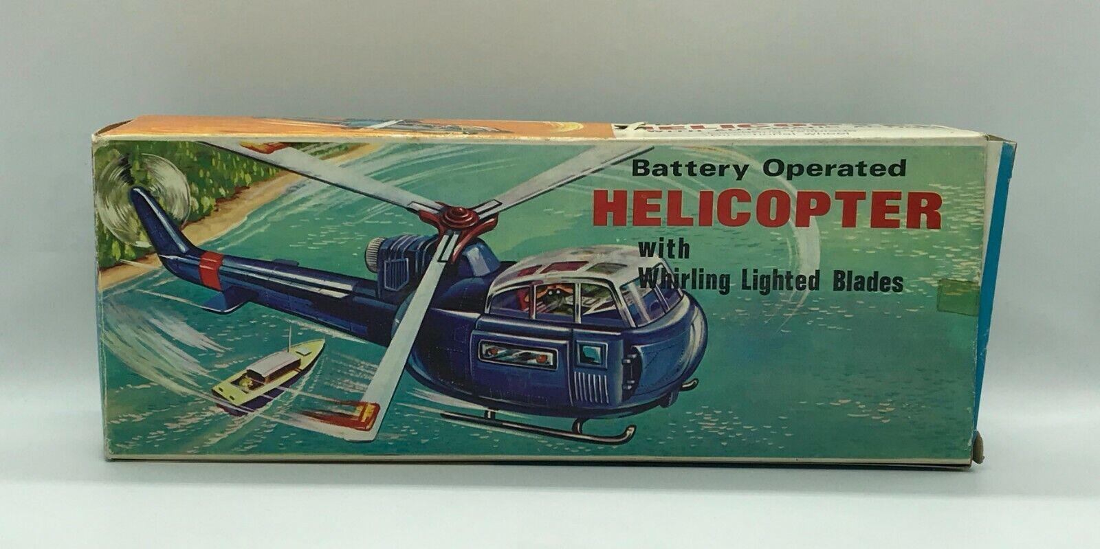 Vintage 60'S Funciona Batería Helicóptero Hecho en Hong Kong en Caja