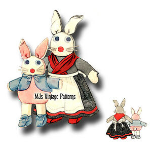 Vintage-Mrs-Rabbit-amp-Baby-Bunny-Cottontail-Pattern