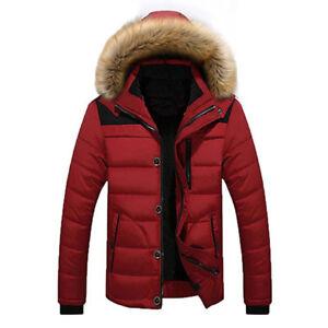 Men/'s Fur Collar Hooded Parka Winter Thicken Jacket Warm Coat Short Outwear