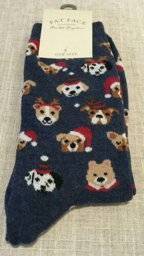 BNWT FAT FACE Ladies Xmas Dog Faces Socks One Size UK 4-7