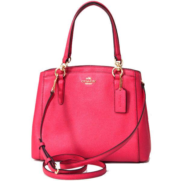 Coach Minetta Crossbody Handbag Bright Pink Crossgrain Leather F57847 Ebay
