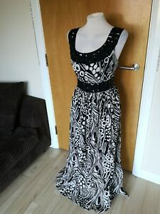Ladies-Dress-Size-16-PRIMARK-Black-White-Long-Maxi-Beaded-Party-Evening
