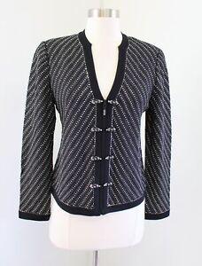 St John Evening Marie Gray Black Silver Embellished Knit Blazer Jacket Size 6