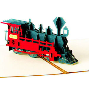 Handmade-Kirigami-up-Greeting-Card-Steam-Train-3D-Birthday-Cards-HOT