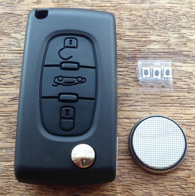 Peugeot 207 307cc 308 407 SW Remote Flip Key Fob FULL Repair Kit C3bwg