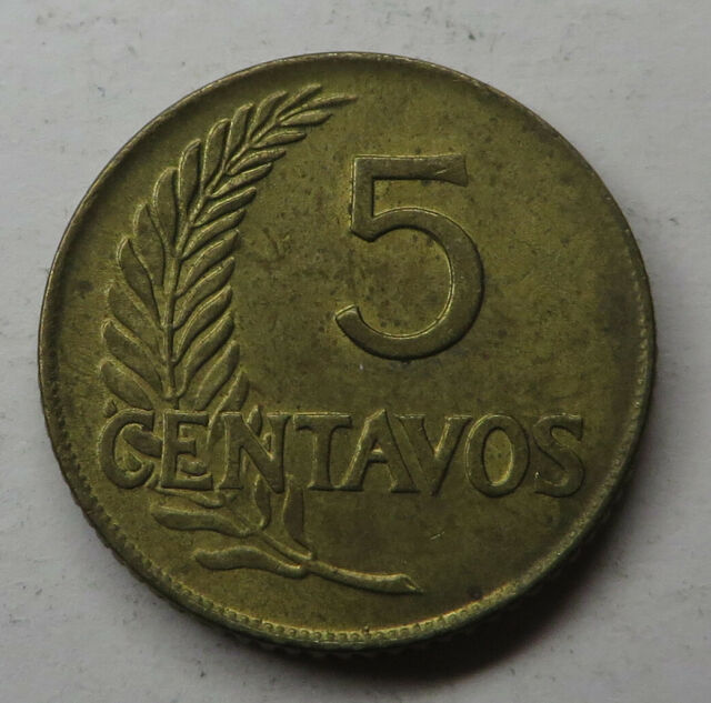 1967 Peru 5 Centavos Cents Brilliant Uncirculated Brass Flower Coin